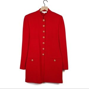St John Red Gold Embellished Button Trench Coat 10